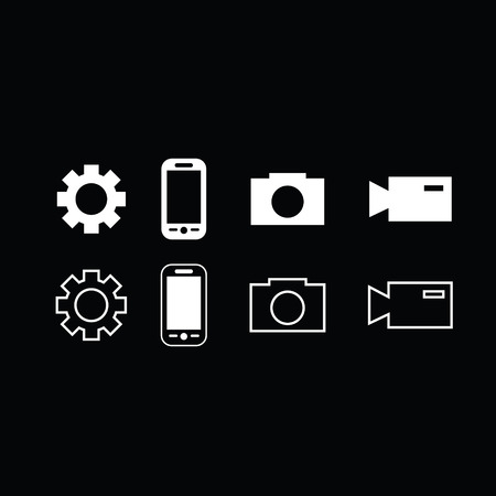 lining: Set of trendy thin modern gadget icons in select and deselect