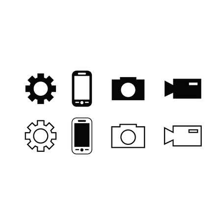 Set of trendy thin modern gadget icons in select and deselect