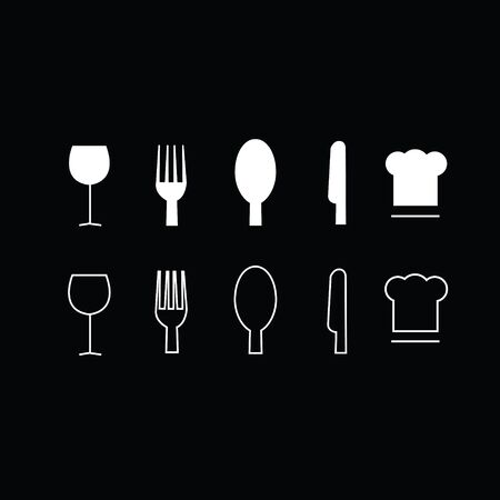 select: Set of trendy thin modern dining icons in select and deselect