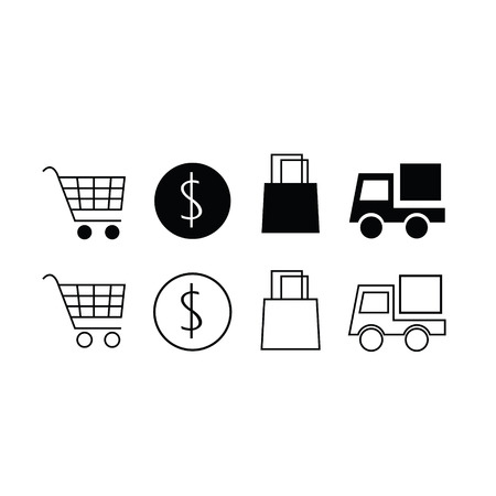 Set of trendy thin modern shopping icons in select and deselect Illustration