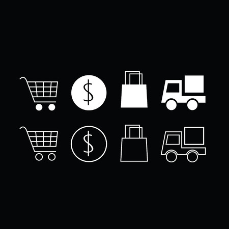 deselect: Set of trendy thin modern shopping icons in select and deselect Illustration