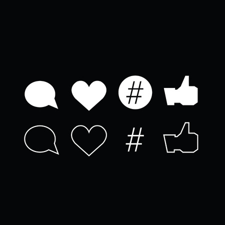 deselect: Set of trendy thin modern social media icons in select and deselect