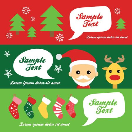 illustration of cute santa claus and reindeer Vector
