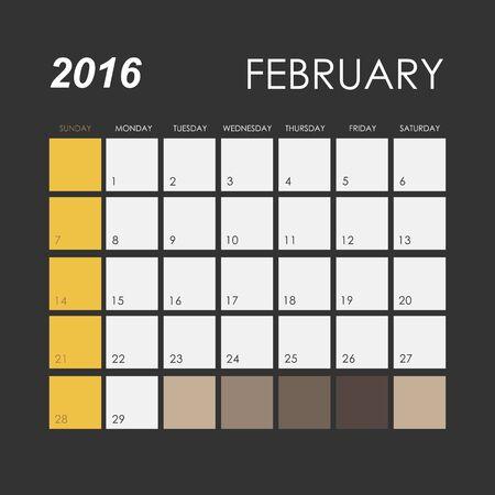 Template of calendar for February 2016 Illustration
