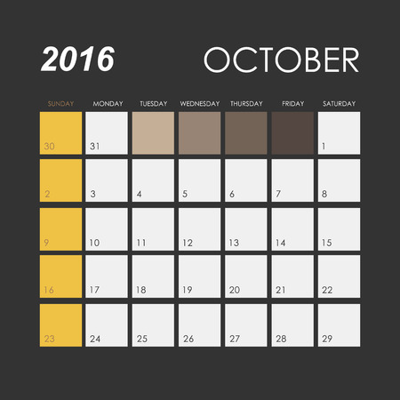 october: Template of calendar for October 2016