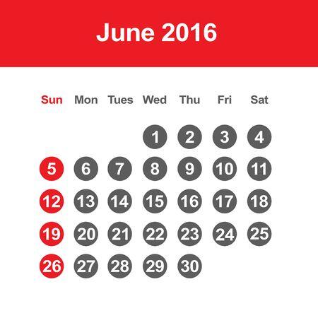 june: Template of calendar for June 2016 Illustration