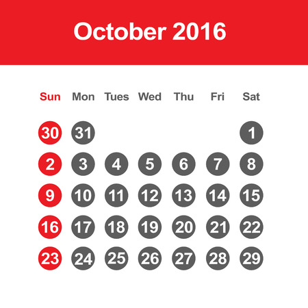 day planner: Template of calendar for October 2016