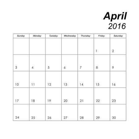 4월: Template of calendar for April 2016