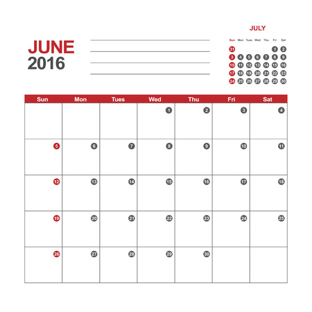 Template Of Calendar For June 2016 Royalty Free Cliparts Vectors