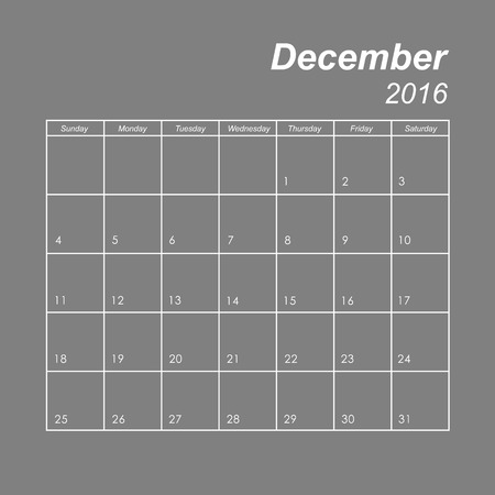 december: Template of calendar for December 2016 Illustration