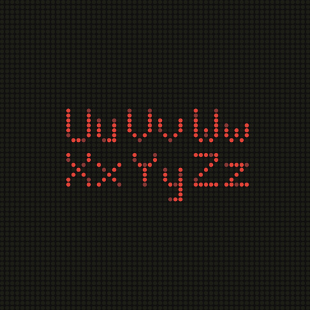 led screen: Set of the alphabet letter on LED screen Illustration