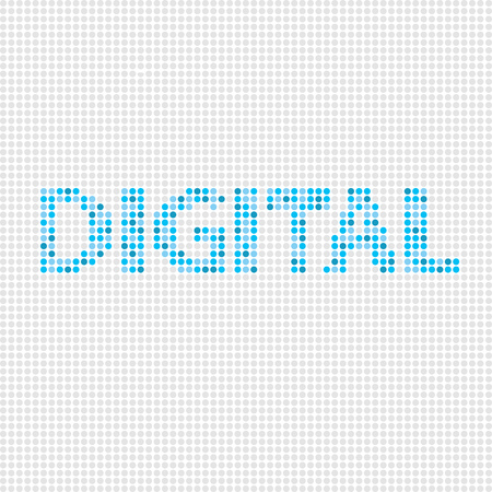 screen type: Letters of digital on screen background