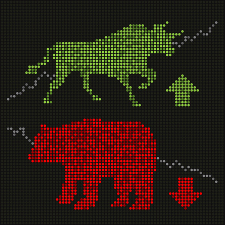Green bull and red bear on led screen Иллюстрация
