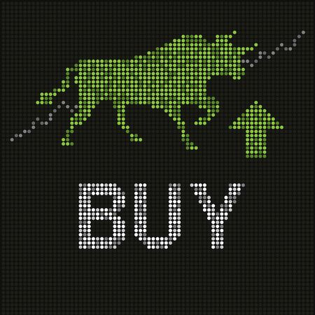 Green bull on led screen