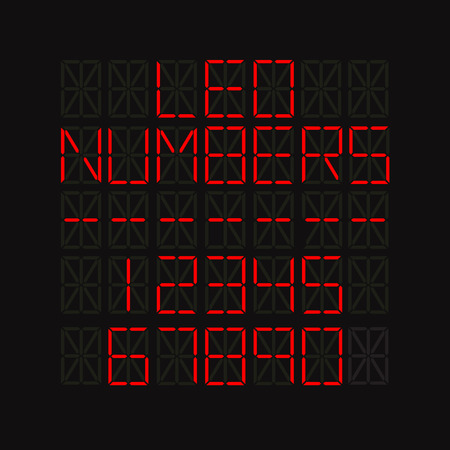 led screen: Set of numbers on LED screen