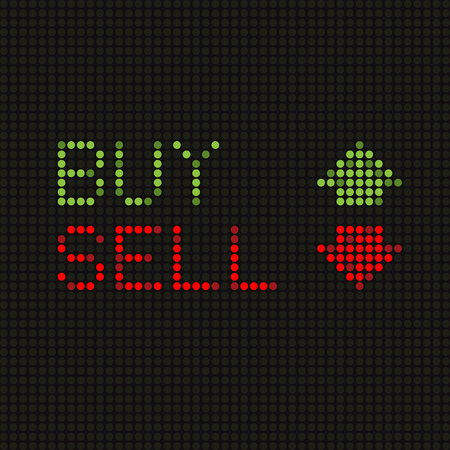Words and arrow on market LED screen