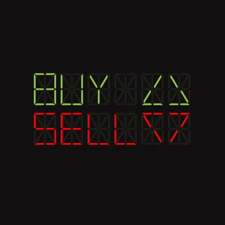 buy sell: Words and arrow on market LED screen