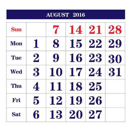 august: Template of calendar for August 2016 Illustration