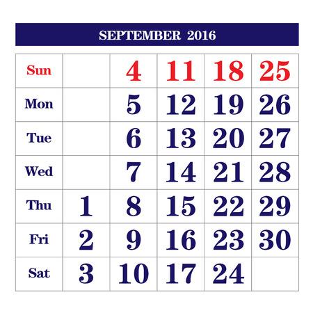 september: Template of calendar for September 2016