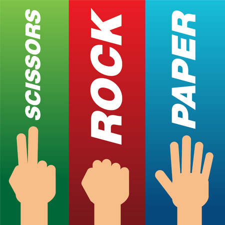 Set of hands with gesture of rock, scissors and paper