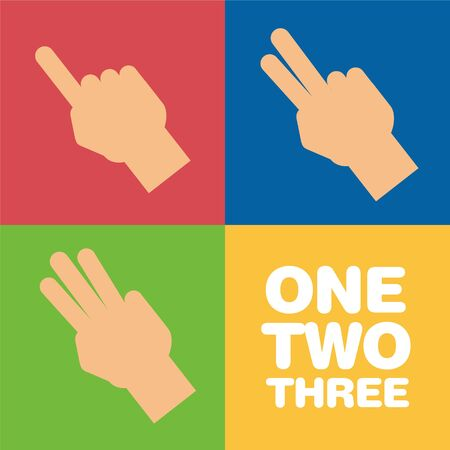 Fingers showing one, two and three
