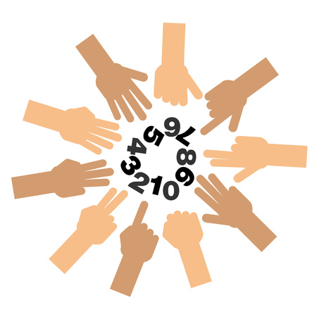 six point: Set of fingers showing number one to zero Illustration