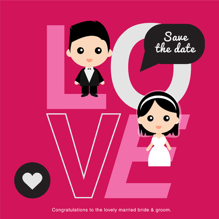 Cute happy groom and bride Ilustrace
