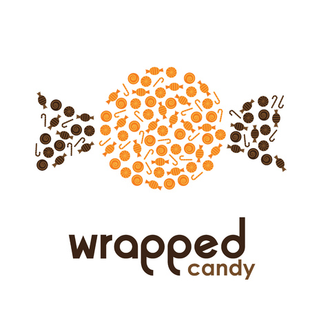 wrapped: Orange wrapped candy made by candies Illustration