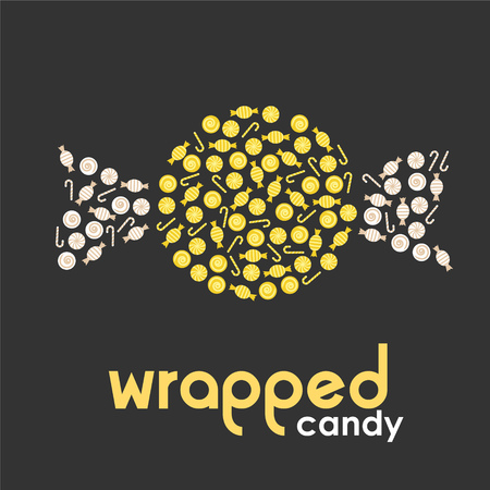 wrapped: Yellow wrapped candy made by candies