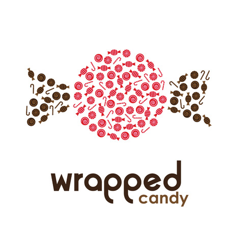 wrapped: Red wrapped candy made by candies