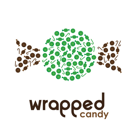 wrapped: Green wrapped candy made by candies