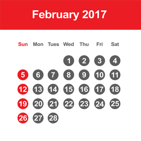 Template of calendar for February 2017