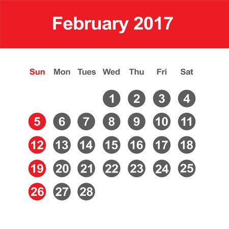 Template of calendar for February 2017 Reklamní fotografie - 56673817