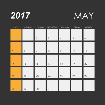 may: Template of calendar for May 2017