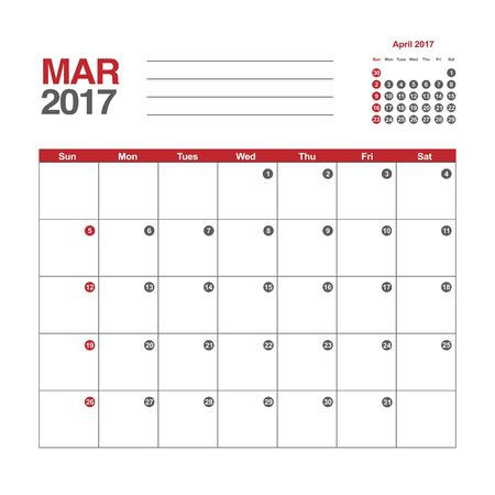 day planner: Template of calendar for March 2017 Illustration