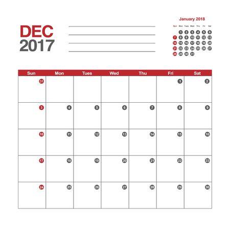 in december: Template of calendar for December 2017