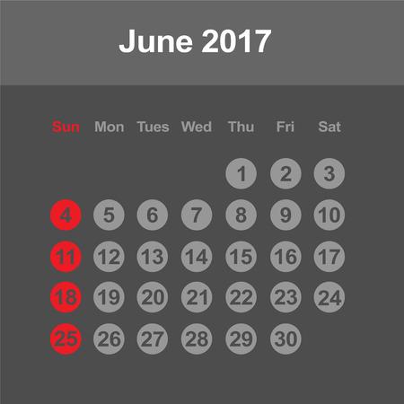 june: Template of calendar for June 2017