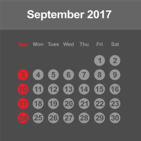 september: Template of calendar for September 2017