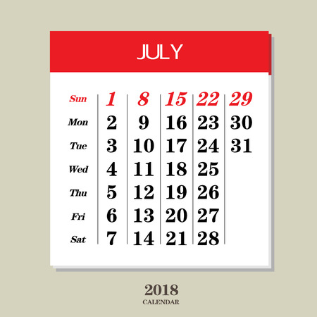 Template of calendar for July 2018