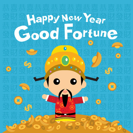 Chinese new year with god of fortune