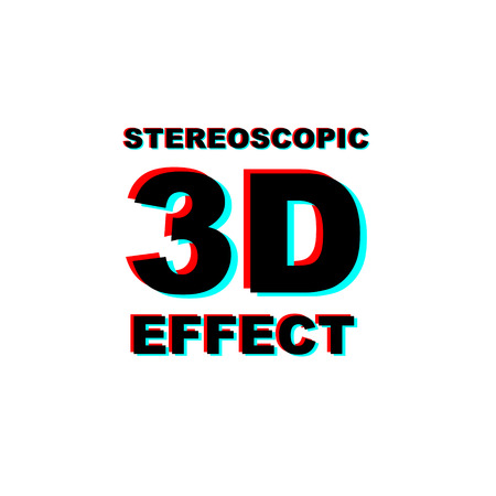 Anaglyph 3D text on white background.