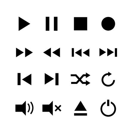 Set of media button symbol