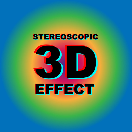 Anaglyph 3D text with colorful abstract background