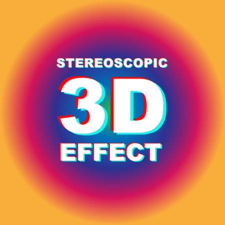Anaglyph 3D text with colorful abstract background. Illustration