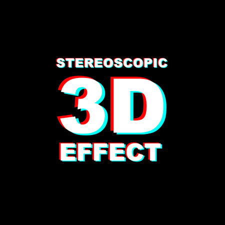 Anaglyph 3D text on black background