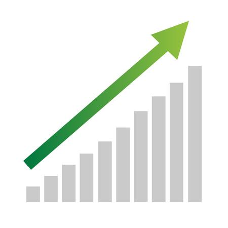 Green business arrow going up