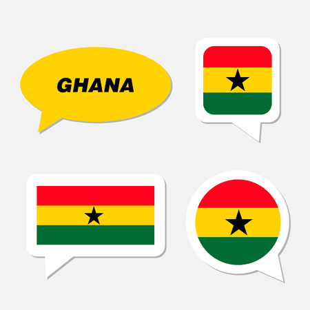 Set of Ghana flag in dialogue bubble