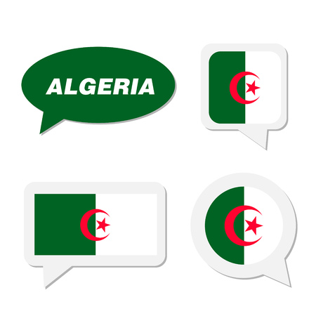 Set of Algeria flag in dialogue bubble
