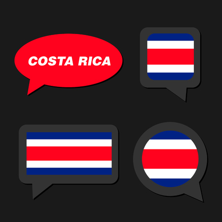 Set of Costa Rica flag in dialogue bubble