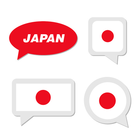 Set of Japan flag in dialogue bubble
